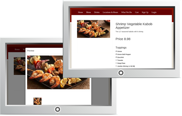 Your restaurant website has great menu displays at Ordello's Restaurant Website and Online Ordering Service