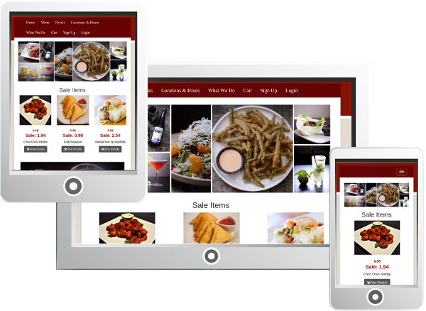 Your restaurant website is fully mobile ready and fits any device size at Ordello's Restaurant Website and Online Ordering Service